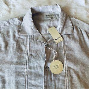Haggar men's linen short sleeve button down large